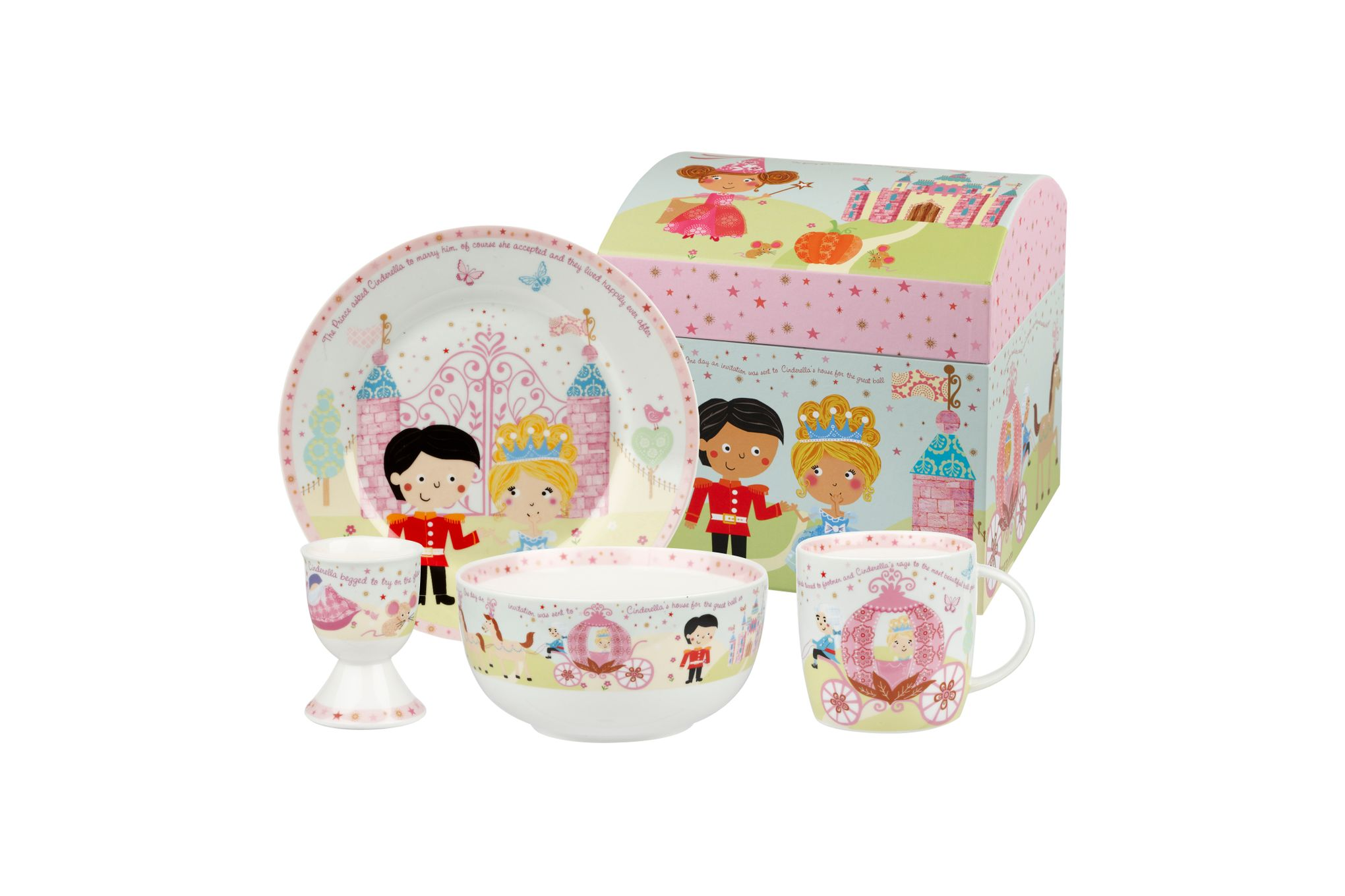 Churchill Little Rhymes Collection - Cinderella 4 Piece Breakfast Gift Box Set Set contains plate, bowl, egg cup and mug thumb 1