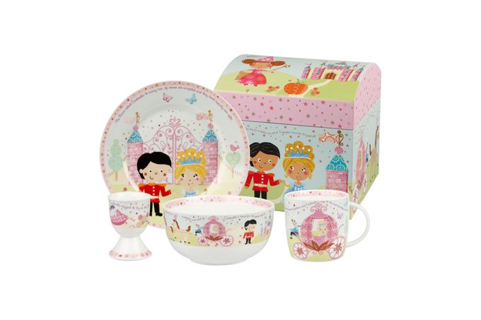 Churchill Little Rhymes Collection - Cinderella 4 Piece Breakfast Gift Box Set Set contains plate, bowl, egg cup and mug
