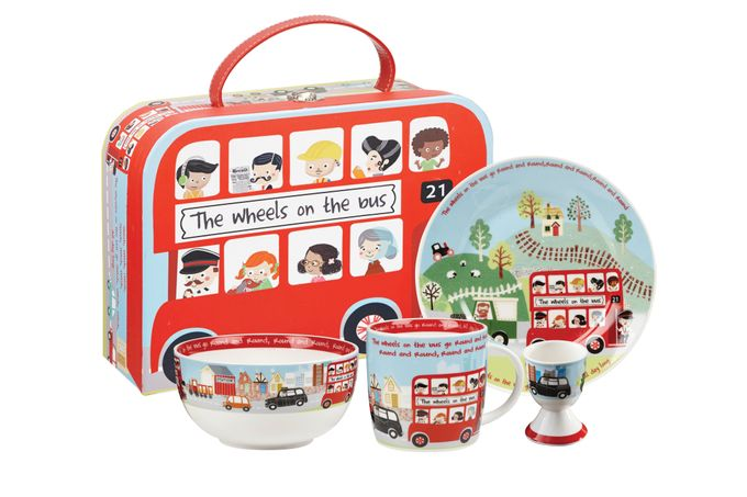 Churchill Little Rhymes Collection - Wheels On The Bus 4 Piece Breakfast Gift Box Set Set contains: plate (17.2cm), bowl (13cm), mug (284ml) and egg cup (6.5cm)