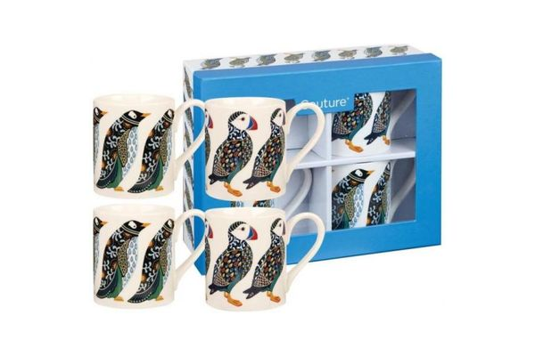 Churchill Couture Paradise Birds Mug - Set of 4 Puffin And Penguin Larch Set. Gift boxed. 250ml
