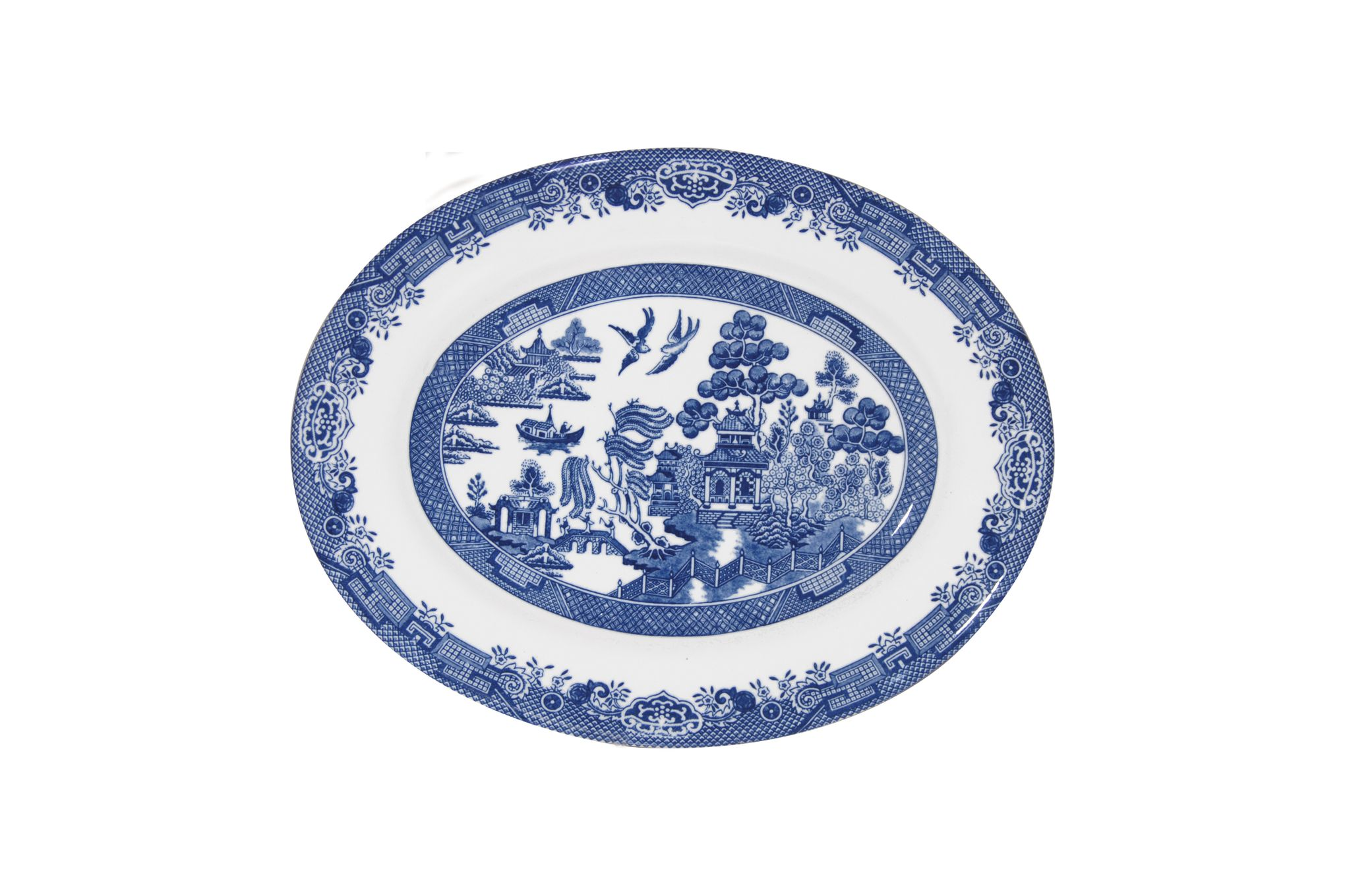 "Churchill Blue Willow Oval Plate / Platter 12 1/4"" thumb 1"