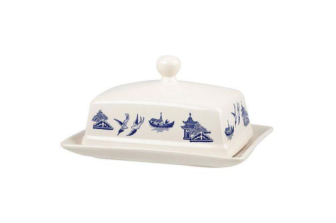 Churchill Blue Willow Butter Dish + Lid Knob on Lid