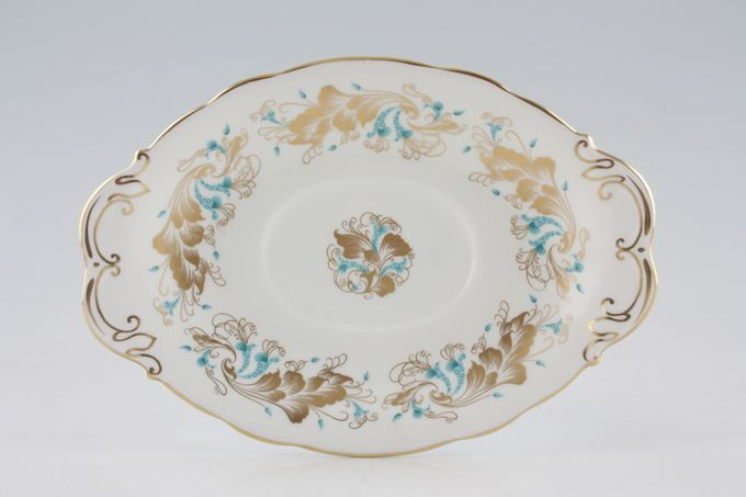 Coalport Strange Orchid Sauce Boat Stand oval-wavy rim 9""