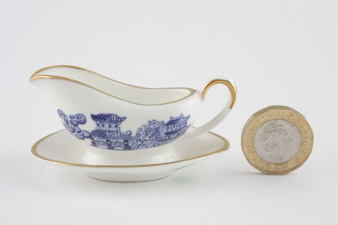 Coalport Miniatures - Willow - Blue Sauce Boat and Stand Fixed