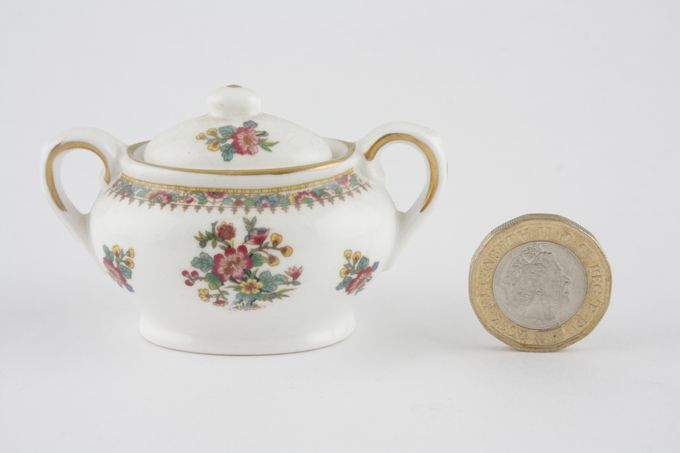 Coalport Miniatures - Ming Rose Sugar Bowl - Lidded (Tea) Oval