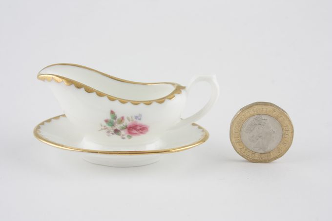 Coalport Miniatures - Birbeck Rose Sauce Boat and Stand Fixed