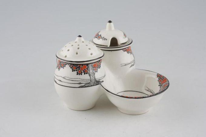 Crown Ducal Orange Tree Cruet Set pepper pot, mustard pot and salt dish attached