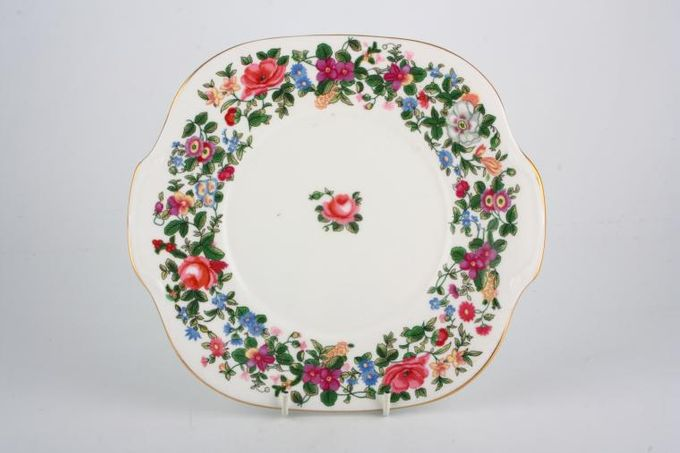Crown Staffordshire Thousand Flowers Cake Plate Square - eared 9 1/2""