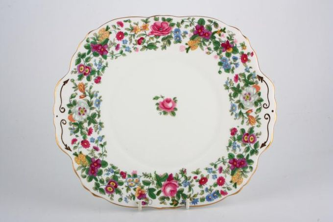 Crown Staffordshire Thousand Flowers Cake Plate Square - eared 10 1/4""