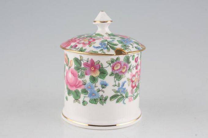 Crown Staffordshire Thousand Flowers Jam Pot + Lid Straight Sided 2 7/8 x 2 7/8""