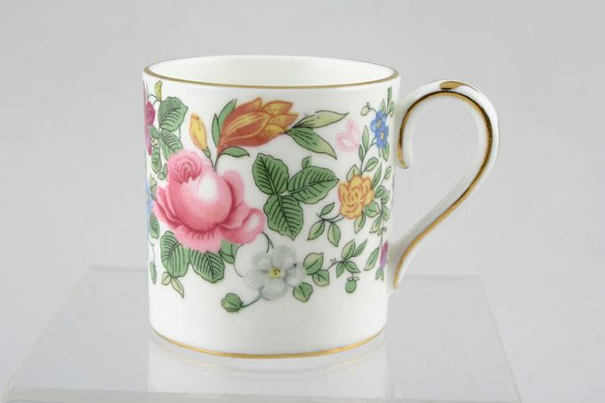 """Crown Staffordshire Thousand Flowers Coffee/Espresso Can Gold Line on Base 2 1/8 x 2 1/4"""""""