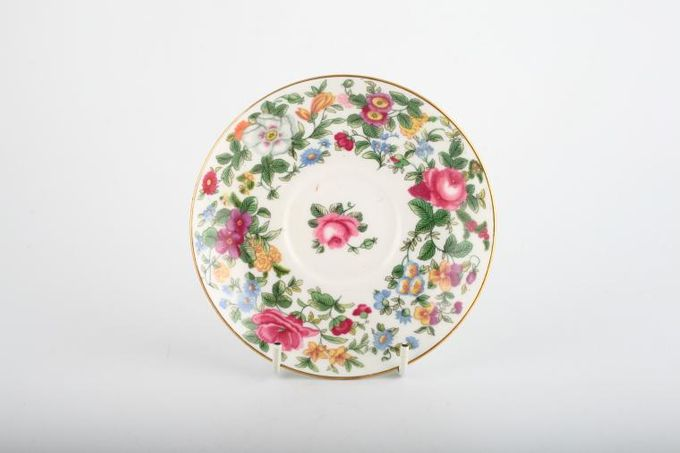 "Crown Staffordshire Thousand Flowers Coffee Saucer Rridge on base 3 5/8"" 5 3/8"""