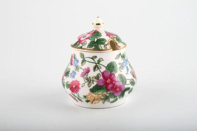 "Crown Staffordshire Thousand Flowers Jam Pot + Lid 2 7/8 x 2 5/8"""