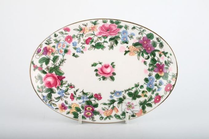 """Crown Staffordshire Thousand Flowers Tray (Giftware) Oval 5 1/2 x 5"""""""