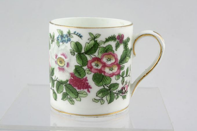 """Crown Staffordshire Thousand Flowers Coffee/Espresso Can Gold Line on Base 2 1/8 x 2 1/8"""""""