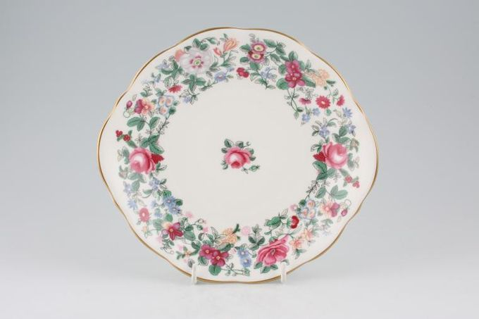 """Crown Staffordshire Thousand Flowers Cake Plate Round - eared 8 1/2"""""""