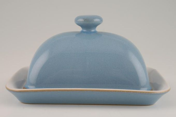 Denby Colonial Blue Butter Dish + Lid Domed lid - knob handle