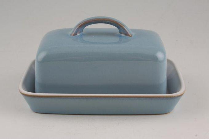 Denby Colonial Blue Butter Dish + Lid Oblong lid-Open Handle