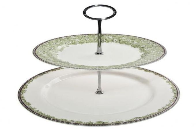Denby Monsoon Daisy Green 2 Tier Cake Stand