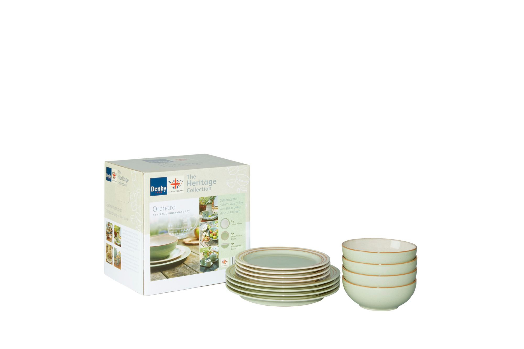 Denby Heritage Orchard 12 Piece Set 4 x Dinner Plate, 4 x Medium Plate, 4 x Soup /Cereal Bowl thumb 1