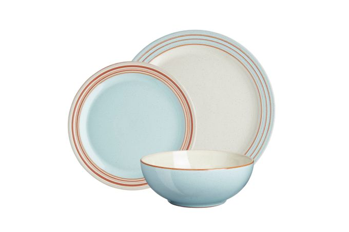Denby Heritage Pavilion 12 Piece Set 4 x Dinner Plate, 4 x Medium Plate, 4 x Cereal Bowl