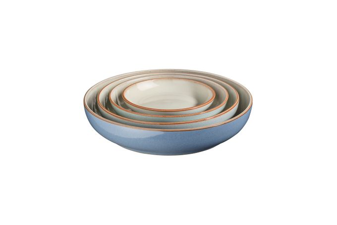 Denby Always Entertaining 4 Piece Nesting Bowl Set Small 13.5 x 2.5cm, Medium 17 x 3.5cm, Large 20.5 x 4.5cm & Extra Large Nesting Bowl 24 x 5.5cm