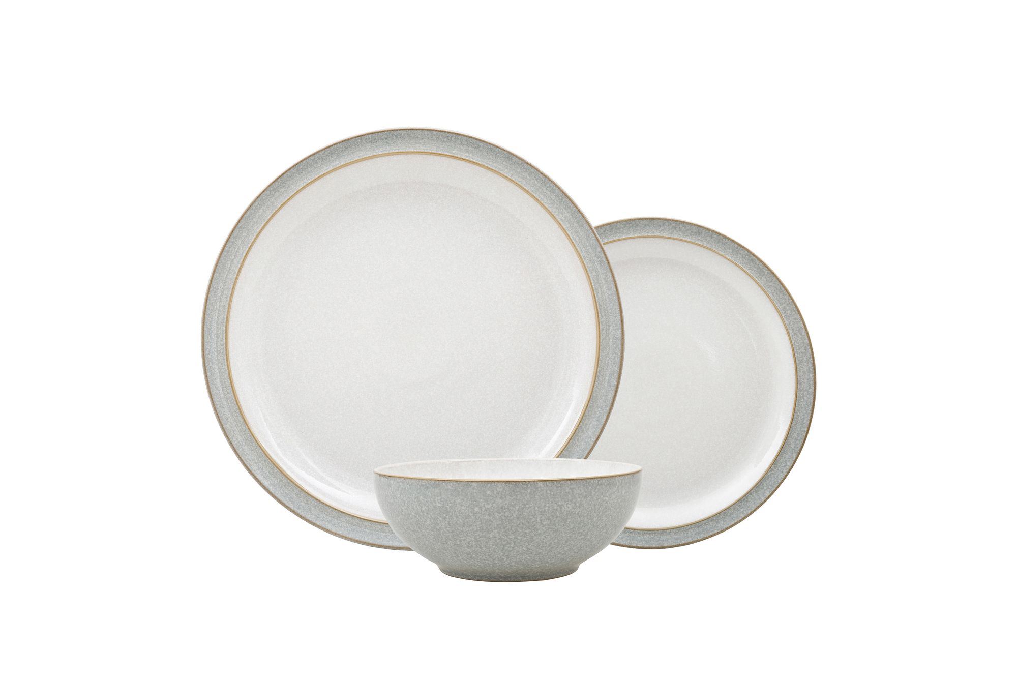Denby Elements - Light Grey 12 Piece Set 4 x 26.5cm Dinner Plate, 4 x22cm Side Plate & 4 x 17cm Cereal Bowl thumb 1