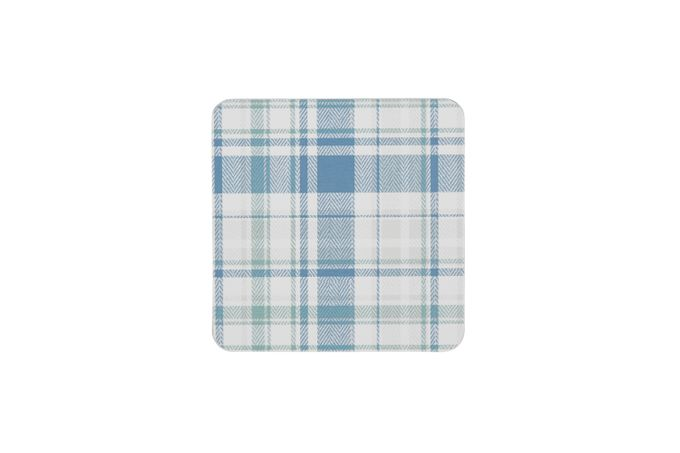 Denby Elements - Checks Coasters - Set of 6 GREEN / BLUE 10.5cm