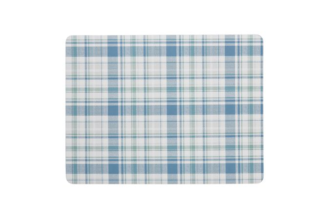 Denby Elements - Checks Placemats - Set of 6 GREEN / BLUE 30.5 x 23cm