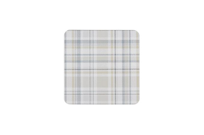 Denby Elements - Checks Coasters - Set of 6 NATURAL 10.5cm