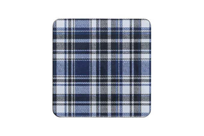 Denby Elements - Checks Coasters - Set of 6 Blue/Black