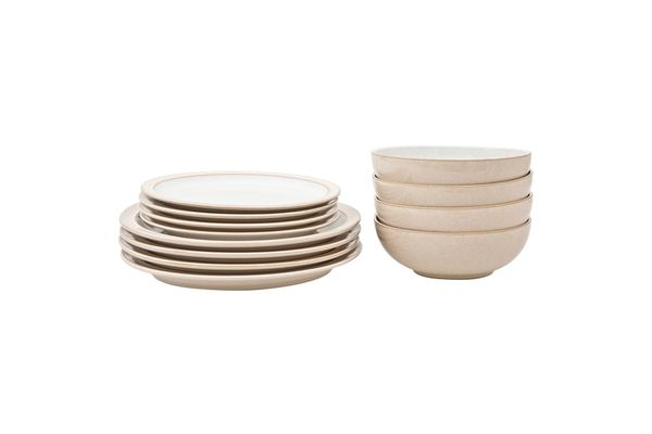 Denby Elements - Natural 12 Piece Set 4 x 26.5cm Dinner Plate, 4 x 22cm Side Plate & 4 x 17cm Cereal Bowl