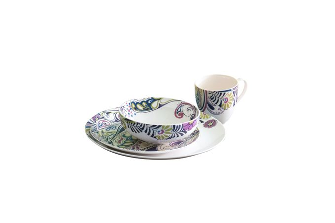 Denby Monsoon Cosmic 16 Piece Set 4 x Dinner Plate, 4 x Medium Plate, 4 x Cereal Bowl, 4 x Large Mug