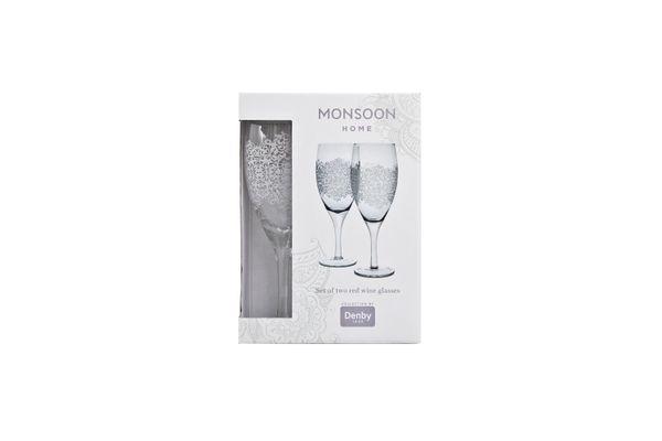 Denby Monsoon Filigree Pair of Red Wine Glasses