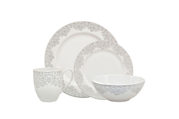 Denby Monsoon Filigree 16 Piece Set 4 x Dinner Plate, 4 x Medium Plate, 4 x Cereal Bowl, 4 x Large Mug