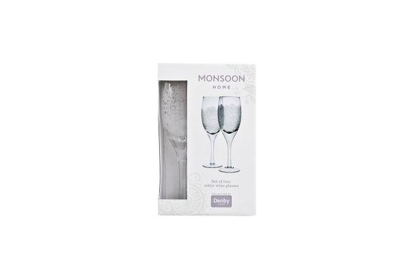 Denby Monsoon Filigree Pair of White Wine Glasses