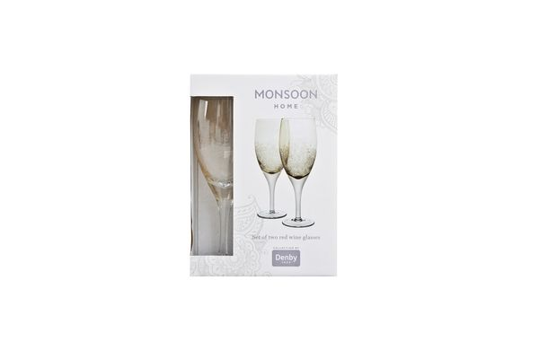 Denby Monsoon Lucille Gold Pair of Red Wine Glasses