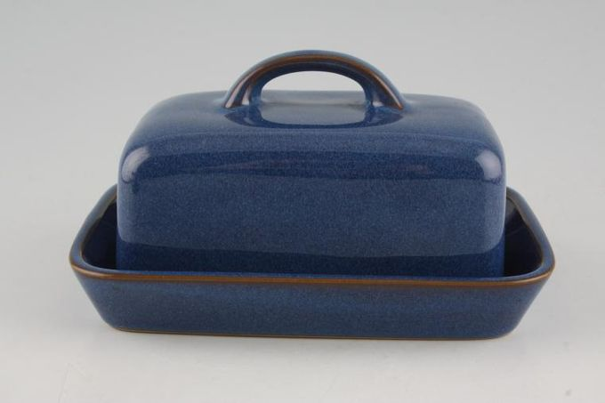 Denby Imperial Blue Butter Dish + Lid Box shape, base is all blue