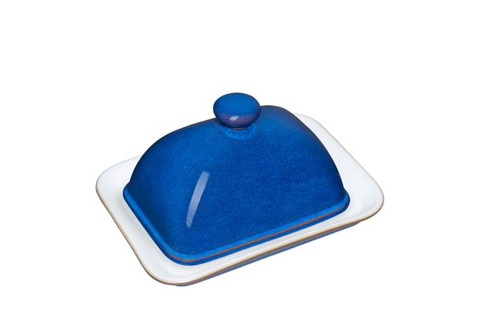 Denby Imperial Blue Butter Dish + Lid Knob on Lid