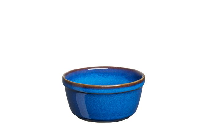 "Denby Imperial Blue Ramekin All blue, rim round top 3 3/4"""