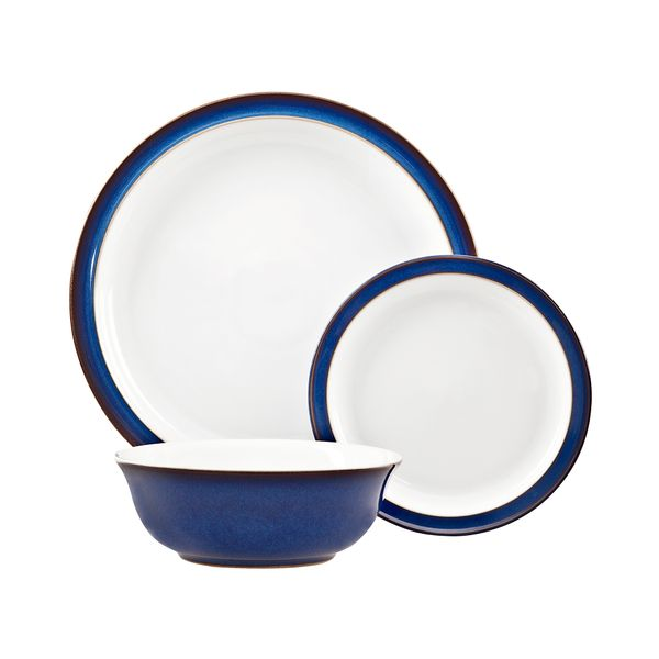 Denby Imperial Blue 12 Piece Set 4 x Dinner Plate,4 x Tea Plate, 4 x Cereal Bowl