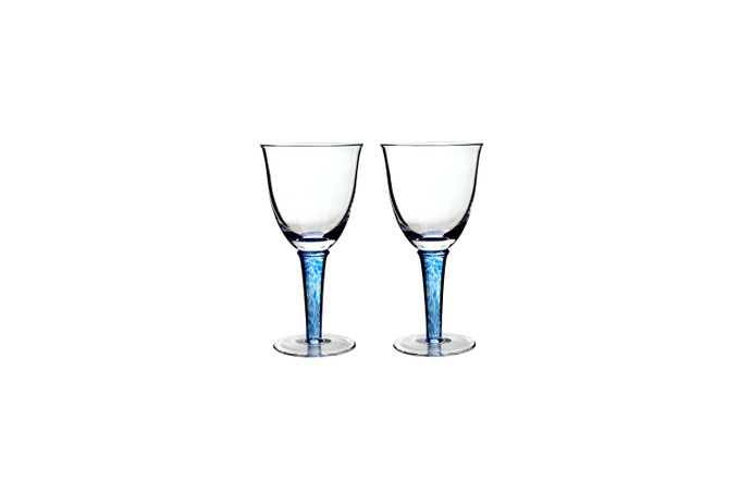 Denby Imperial Blue Pair of White Wine Glasses