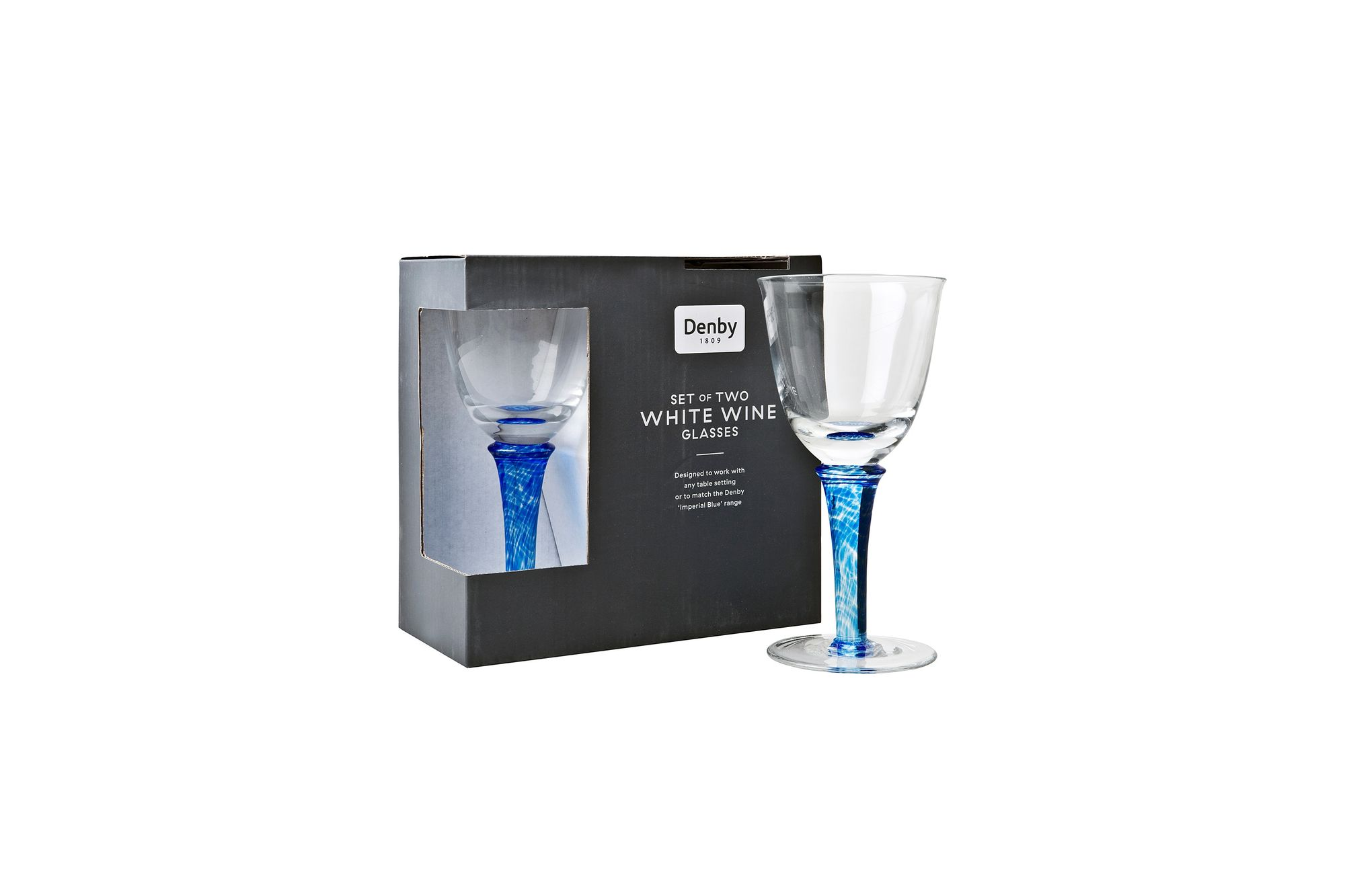 Denby Imperial Blue Pair of White Wine Glasses thumb 2