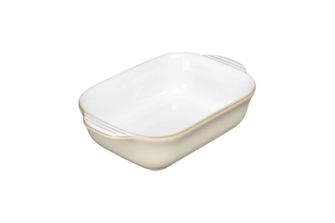 Denby Linen Oven Dish Oblong, Eared, White Inside - Small 21.5 x 13.8 x 5.7cm, 0.5l