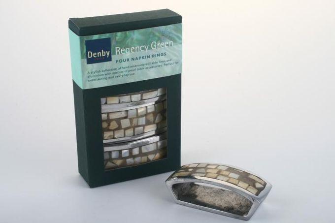"Denby Regency Green Napkin Ring box of 4 3 1/4 x 1 3/8"""