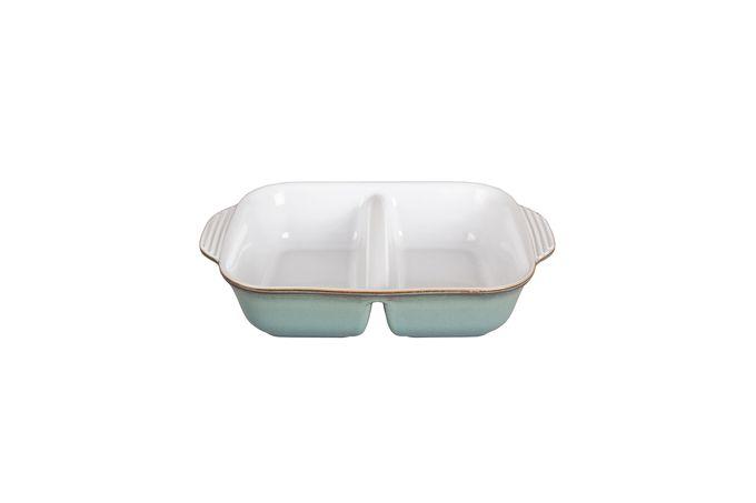 Denby Regency Green Serving Dish Open-Divided - White Inside