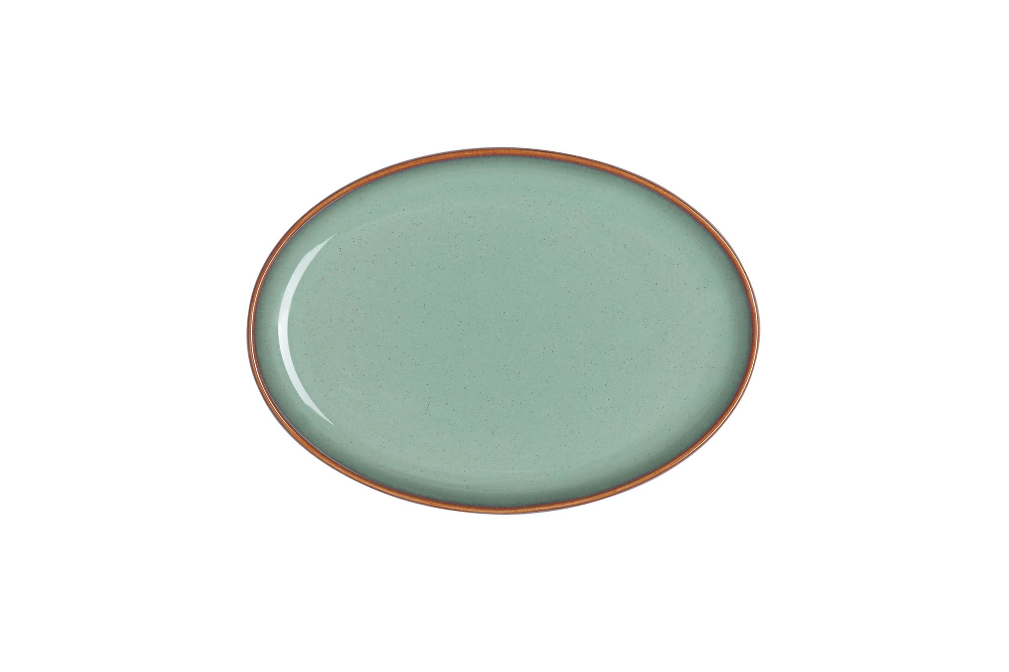"Denby Regency Green Serving Tray Small Oval Tray 19 x 14"" thumb 1"