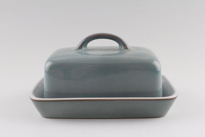 "Denby Regency Green Butter Dish + Lid Box shape 6 3/4 x 4 7/8"""