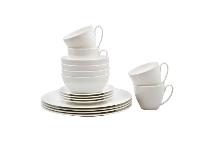 Denby China by Denby 16 Piece Set 4 x Dinner Plates, 4 x Small Plates, 4 x Cereal Bowls and 4 x Small Mugs