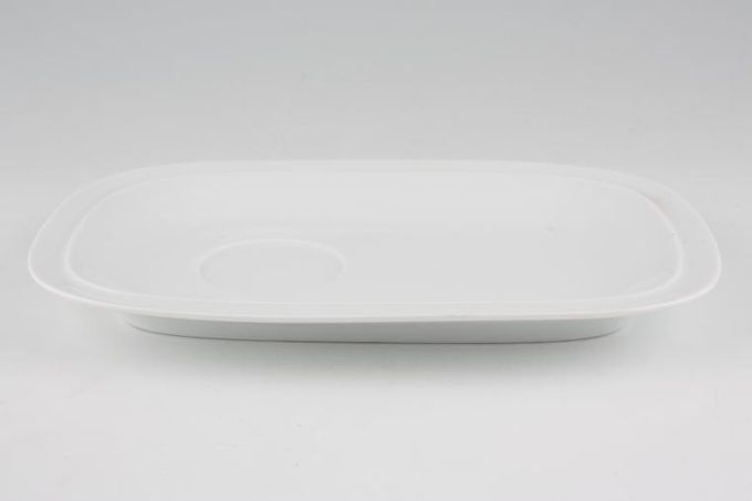 """Denby White Squares TV Tray Buffet Saucer 9 1/2 x 6 1/2"""""""